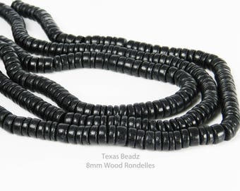 Black Wood Beads Rondelle Beads 8mm x 4mm Wooden Beads