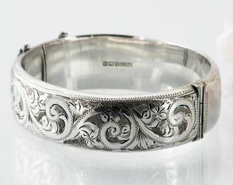 Vintage Sterling Silver Bracelet Hinged Silver Cuff | Victorian Revival | Engraved Silver Bracelet | 1961 English Hallmarks - 7 Inch Wrist