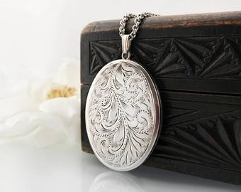 Vintage Sterling Silver Locket Necklace | Large Engraved Photo Locket Oval Long Chain Locket | 1972 English Silver Hallmarks - 34 Inch Chain