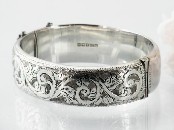 Vintage Sterling Silver Bracelet Hinged Silver Cuff | Victorian Revival | Engraved Silver Bracelet | 1961 English Hallmarks - 7 Inch Wrist