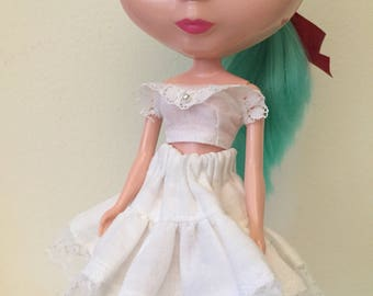 White Cotton Petticoat and Bralette For Blythe