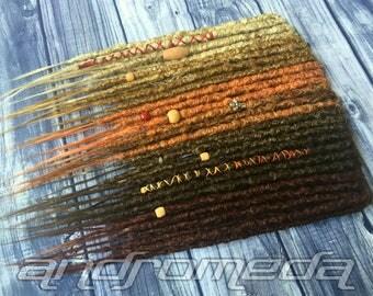 "25DE Crocheted Dreadlock Extensions -- ""Autumn Harvest"" -- Ready to Ship!"
