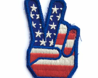 Vintage Hand Peace Sign American Flag Patch