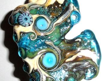 Acqua d'argento...Handmade Lampwork Glass Focal Bead blue water swirl sparkle aqua fin fan ocean Beatlebaby Glassworks