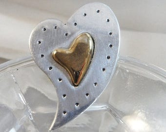 SALE Vintage Abstract Heart Brooch. Pewter and Brass Abstract Heart Pin.