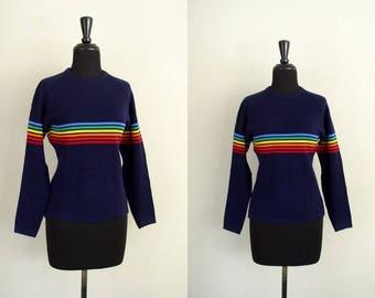 Vintage 1970's Ski Sweater / 70's Meister Navy Blue Wool Rainbow Stripe Knit Top / LGBTQ Pride