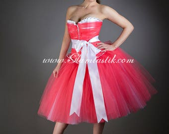 Size Small Coral and White tulle tea length burlesque vintage inspired corset Prom dress with Bow Ready to Ship