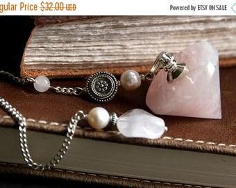 SUMMER SALE Rose Quartz Pendulum. Pink Pendulum. Dowsing Pendulum. Metaphysical New Age Divination Tool. Healing Gemstone Pendulum.
