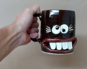 Hilarious White Elephant Gift Exchange Ideas. Funny Face Mug Coffee Cup for Her. Handmade Gift Swap Ideas Under 30. Useful Creative Woman