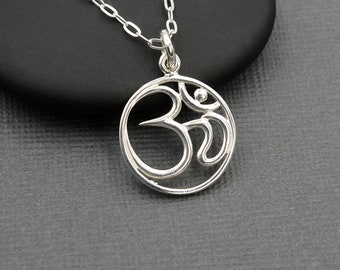 Om Necklace - 925 Sterling Silver Om Jewelry, ohm necklace, zen, buddhist jewelry, yoga teacher gift