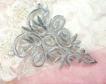 "Silver Metallic Embroidered Applique Iron On Patch 3.75"" (GB518-sl)"