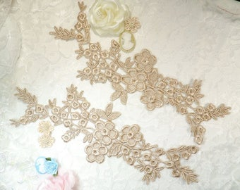 """Lace Appliques Champagne Floral Vine Embroidered Mirror Pair Costume Motifs Craft Sewing Supplies DIY 14"""" (DH89X-chp)"""