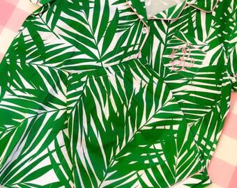 Preppy Palm Monogram Pajama Set Size LARGE