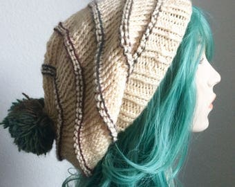 Dreadlock Hat - extra slouchy, cream and teal with pompom - one of a kind!