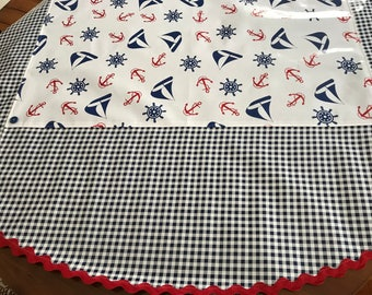 The Mariner--retro round oilcloth tablecloth in a nautical print on white