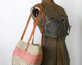 Vintage Woven Boho Bag • 1970s Imported Woven Purse • Open Top Leather Strapped Bag