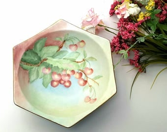 Beautiful Vintage Hand Painted Pink with Cherries Dish