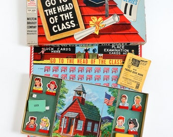 Vintage 1950s Childrens Board Game / Milton Bradley Go To the Head of the Class 1955 Eleventh Series Complete / Retro Family Quiz Game