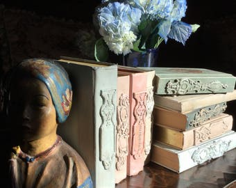 Altered Decorative Book Victorian Scrap Clay Applique Chalk Paint Romantic Wedding Decor French Country