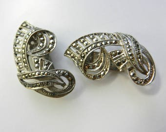 Vintage c 1930 Germany 2 piece  Sterling Silver Marcasite Dress/Fur Clips - dazzling old treasure wearable - art.830/4