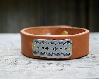 Western Leather Aluminum Bracelet . Boho Design Artisan Bracelet