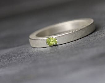 Modern Raw Pale Green Peridot Ring Sterling Silver Simple Rough Gemstone Band Flush Set August Birthstone Gift Idea Gardener Wife - Emerged