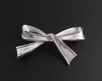 Trifari Bow Brooch, Trifari Brooch, Silver Brooch, Ribbon Brooch