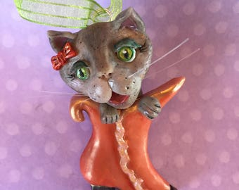 Victorian Cat Halloween Ornament - gray tabby in Victorian boot  - handmade clay ornament  - one of a kind - whimsical decor- orange - green