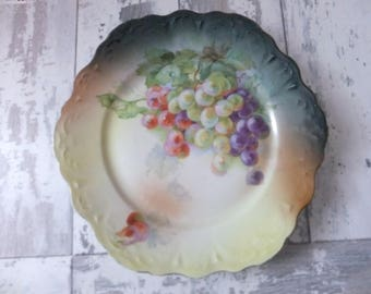 Vintage Hand Painted Plate Purple Green Red Grapes Vine Fruit Decorative Cabinet Plate Germany German