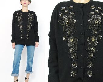 25% off Summer SALE 1980s Vintage Sequin Cardigan Black Wool Cardigan Lambswool Sweater Black and Gold Beaded Cardigan Glam Art Deco Fancy E
