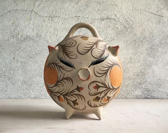 Vintage pottery piggy bank hog collectible Mexican folk art pottery pig Southwestern decor