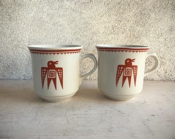 Pair of Coffee Mugs Southwestern Design, Thunderbird Mugs Southwestern Decor