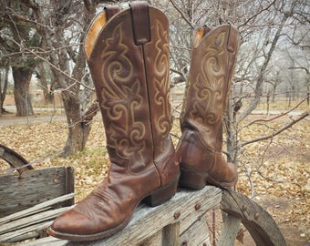 Vintage Cowboy Boot Men's Size 8 D Justin Brown Leather Boot, Western Boots for Men