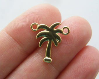 6 Palm tree connector charms gold tone GC74