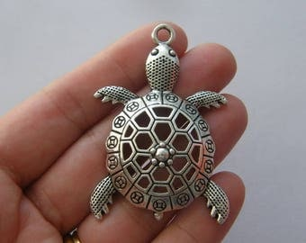 BULK 10 Turtle pendants antique silver tone FF344