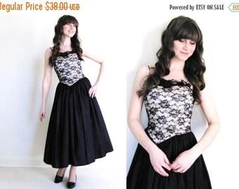 ON SALE Vintage Black Party Dress / Black Cocktail Dress