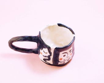 Girls Mug, Hand-Built Pottery Girls Mug, Girls Tea Cup