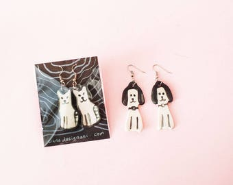 Earring : Dog or Cat, Hand-Built Pottery Dog Earring, Hand-Built Ceramic Cat Earring