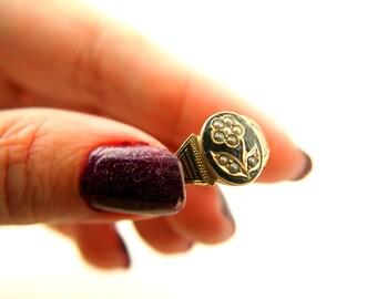 Edwardian Enamel Flower Memorial Ring - Locket back - Forget Me Not - Seed Pearl - 15k Gold - Antique