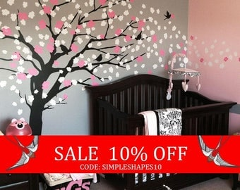 Summer Sale - Baby Nursery Wall Decal, Cherry Blossom Tree Decal, Tree Wall Decal, Nursery Decoration, Elegant Cherry Blossom Tree - W1045