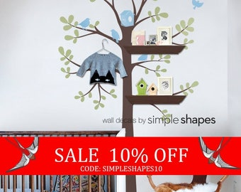 Summer Sale - Tree Wall Decal - Shelving Tree Decal with Birds - Three Colors