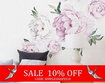 Summer Sale - Easter Sale - Peony Flowers Wall Sticker, Vintage Lilac Watercolor Peony Wall Stickers - Peel and Stick Removable Stickers