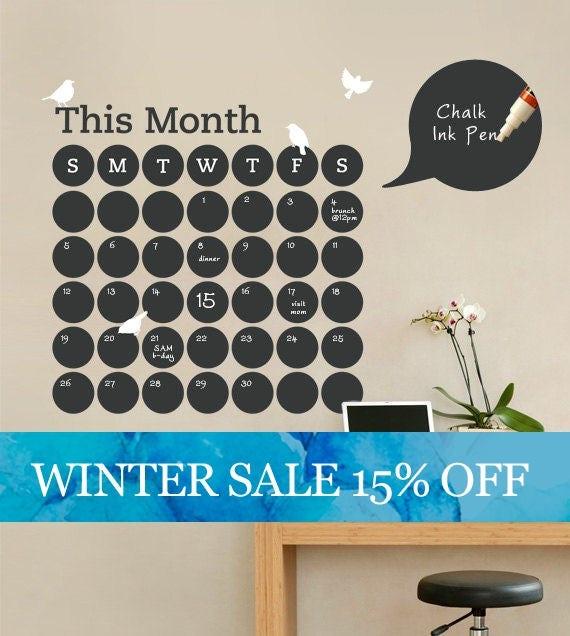 Daily Dot Chalkboard Wall Calendar Vinyl Wall Decal - Custom vinyl wall decal equipment