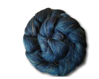 Combed Tops 100g Roving Merino Sparkles Glitter Spinning Fiber Fibre Felting Weaving Galaxy Blue Alpha Centauri Sock Nylon Blend