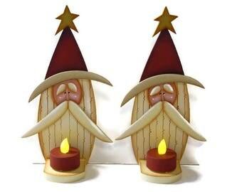 Primitive Santa LED Tea Light Candle Holder,  Handpainted Wood Santa Shelf Sitter, Hand Painted Prim Santa, Tole Decorative Painting, B6