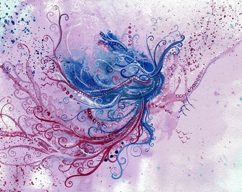 Taking Flight - Original abstract watercolour painting on paper