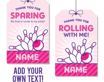 INSTANT DOWNLOAD Pink Bowling Party Favor Tags - EDITABLE printable birthday party favor tags