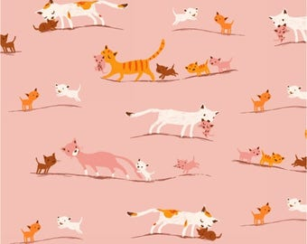 Tiger Lily Marching Cats Pink Fabric 1/2 yard by Heather Ross for Windham