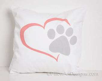 Pet Paw Print and Heart Decorative Pillow Cover White Coral Grey 16 X 16 Made in Canada Ready to Ship