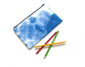 Cosmetic bag, zipper pouch, Shibori indigo dyed, pencil case, make up case, tie dyed, clutch bag, travel toiletry bag, makeup case
